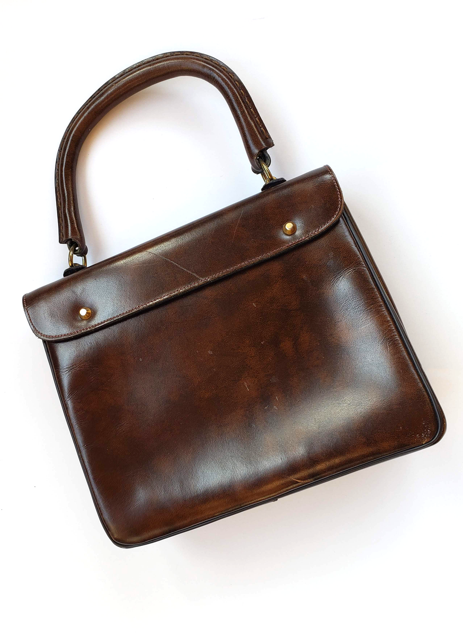 Vintage Lesco Lona 1960s Chocolate Leather Handbag