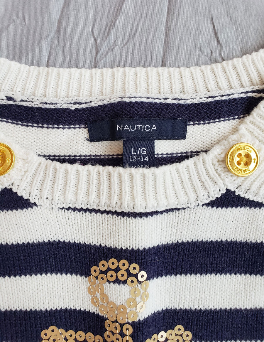 Nautica Anchor Sweater with Tulle Hem - Navy/Cream Striped