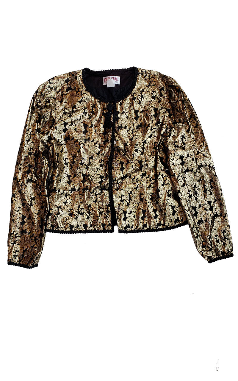 Vintage Maggie London Gold Lamé Jacquard Jacket