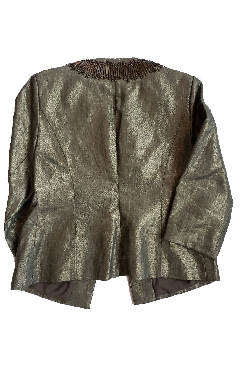 Chico Metallic Beaded Cropped Jacket