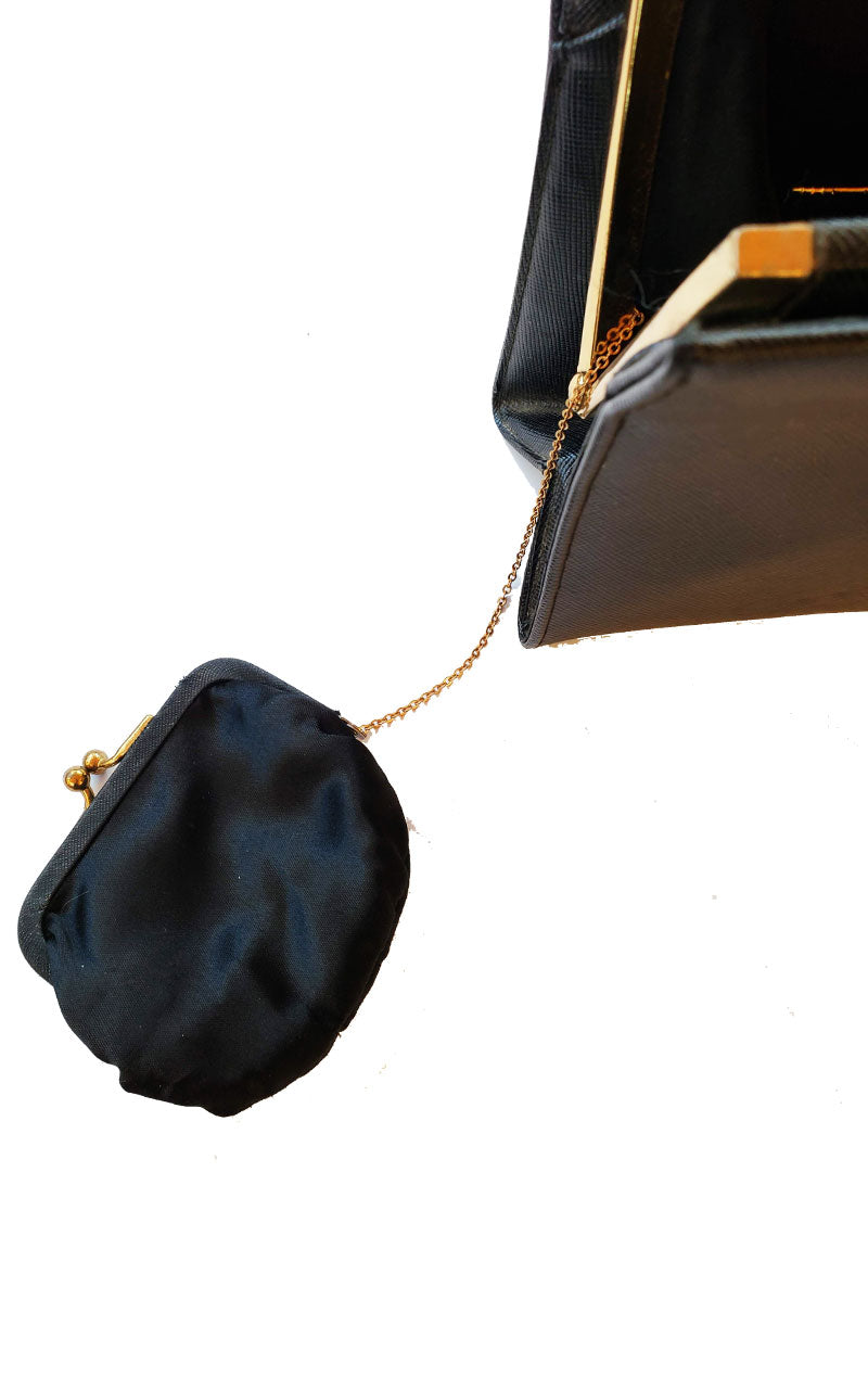 Vintage 60's Small Black Handbag