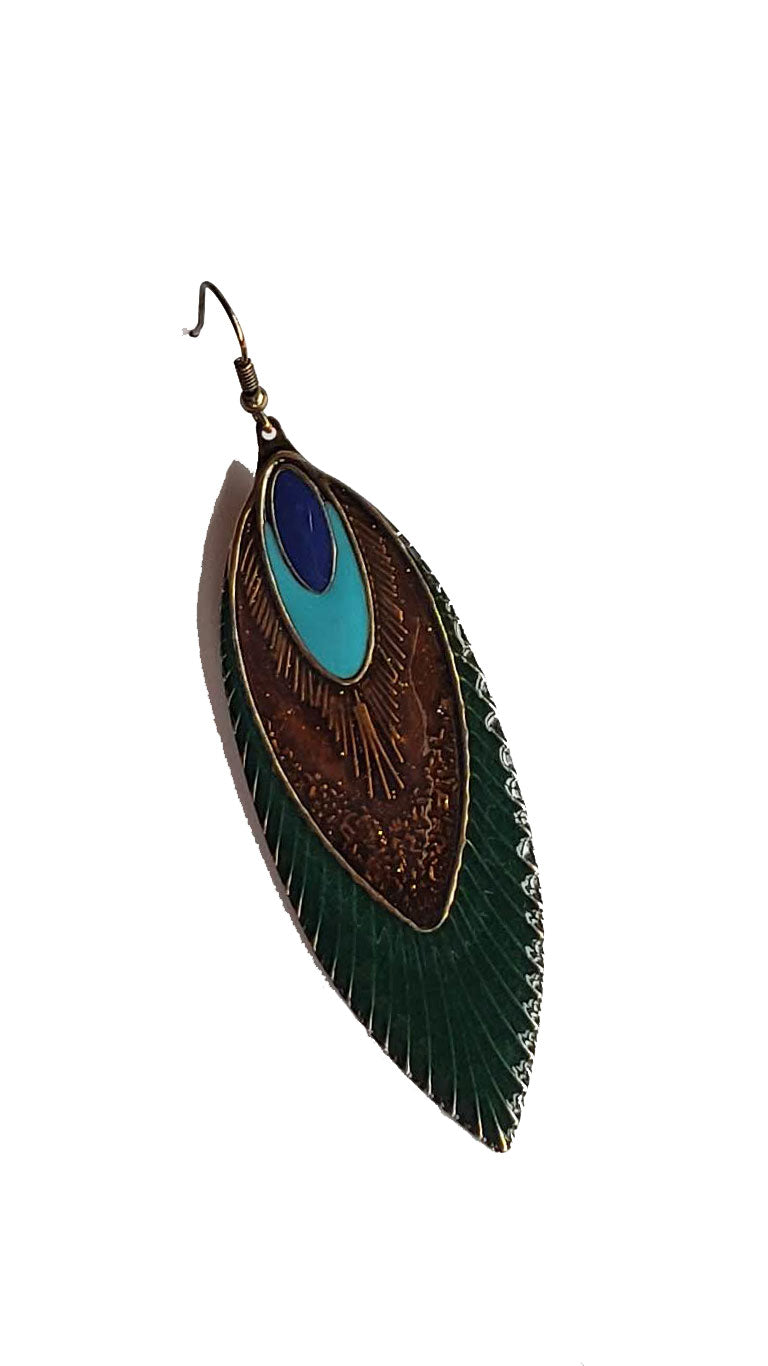 Pennaceous Feather Metal Enamel Earrings