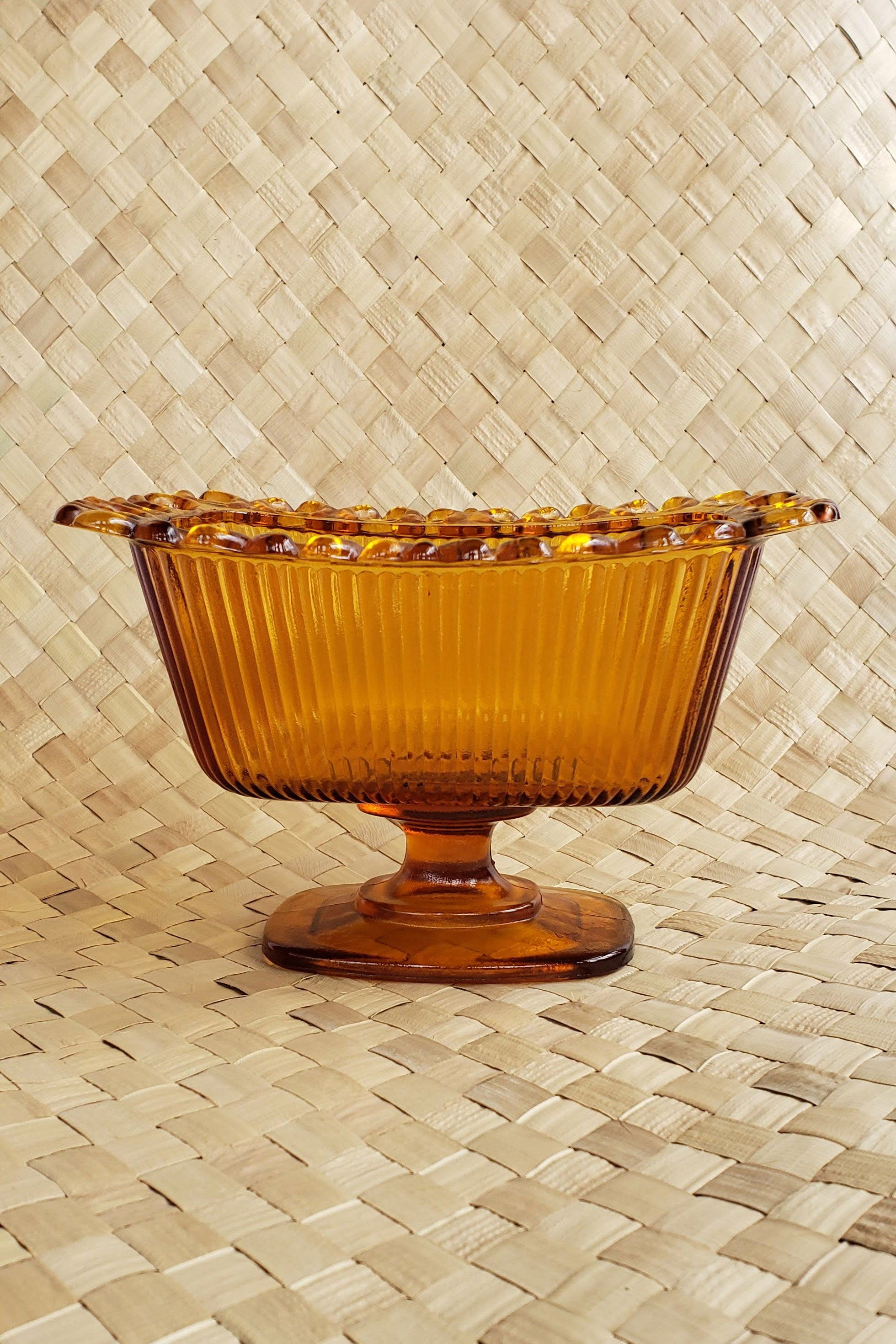 Vintage 1970's Amber Glass Footed Dish