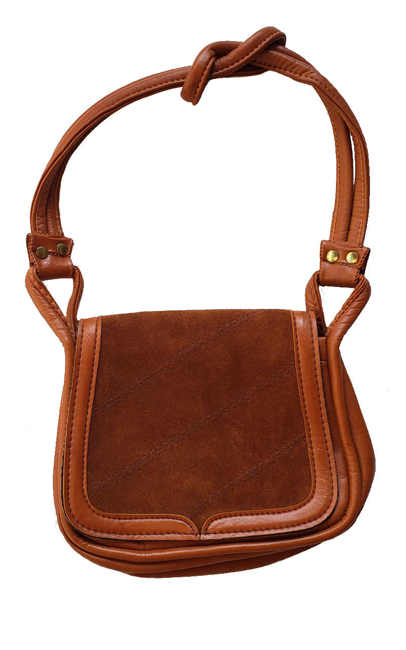 Vintage 70s Tan Leather Shoulder Strap Handbag