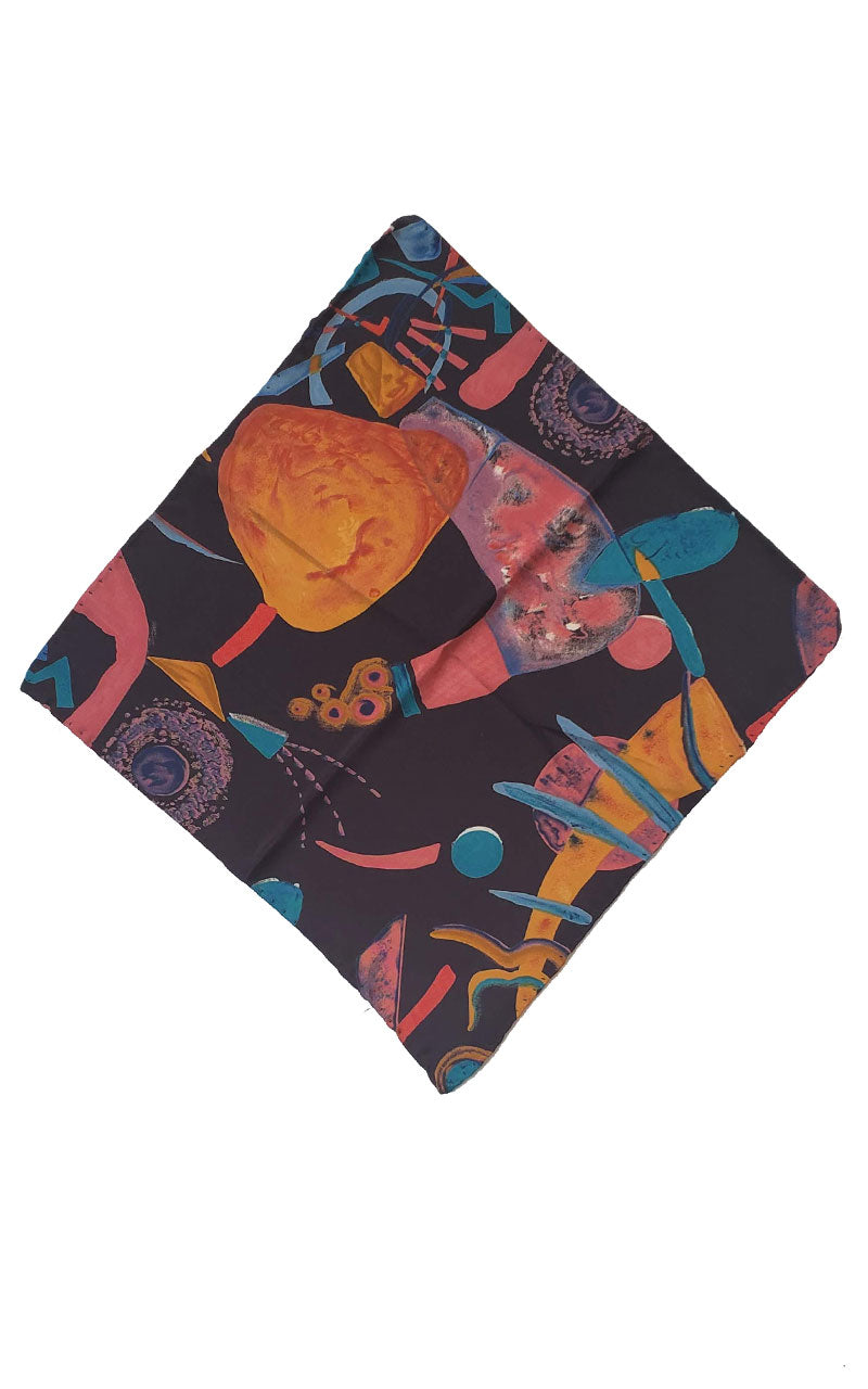 80's Bright Abstract Square Scarf/Pocket Square