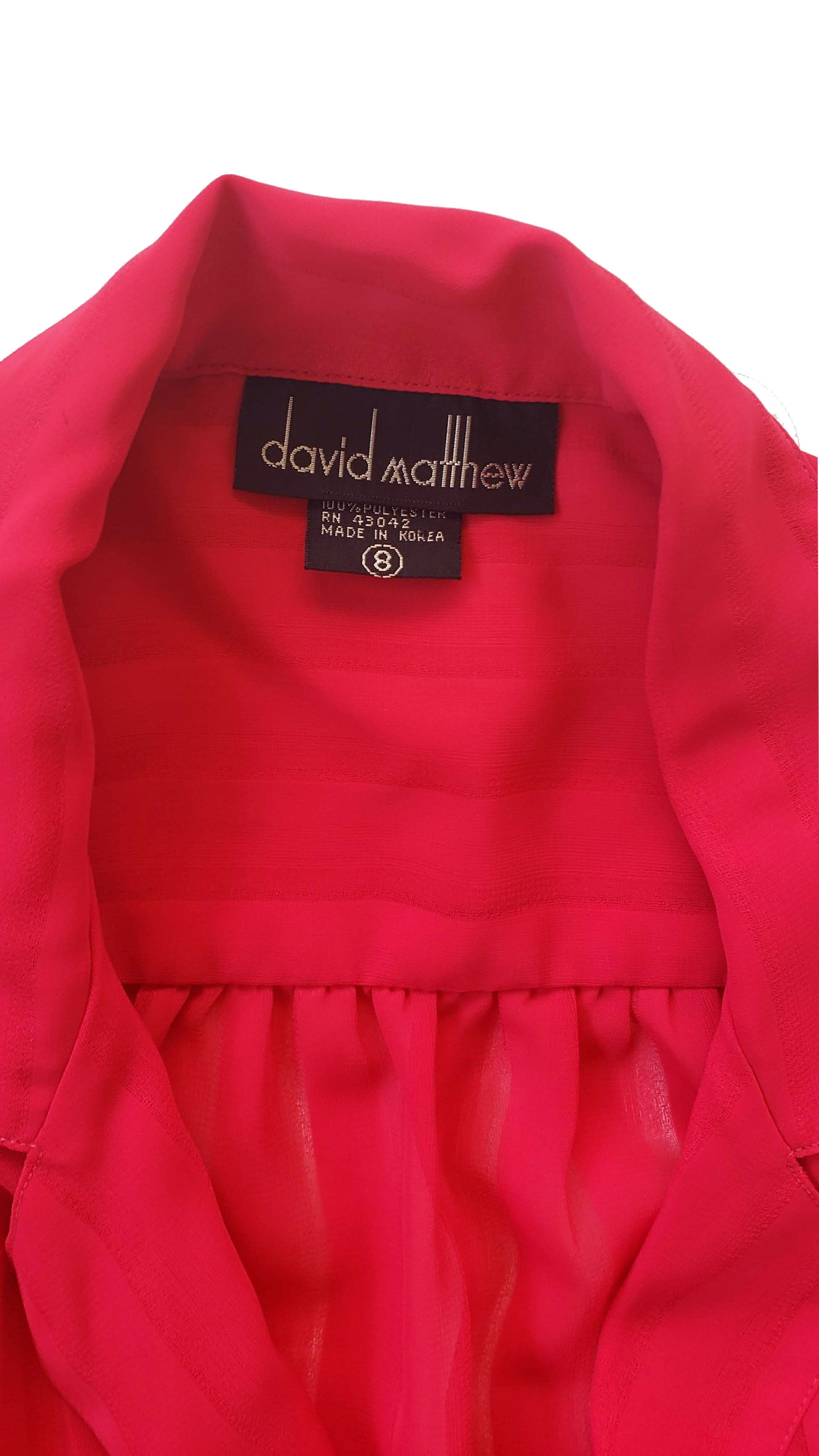 80s David Mathews Hot Pink Sheer Striped Blouse