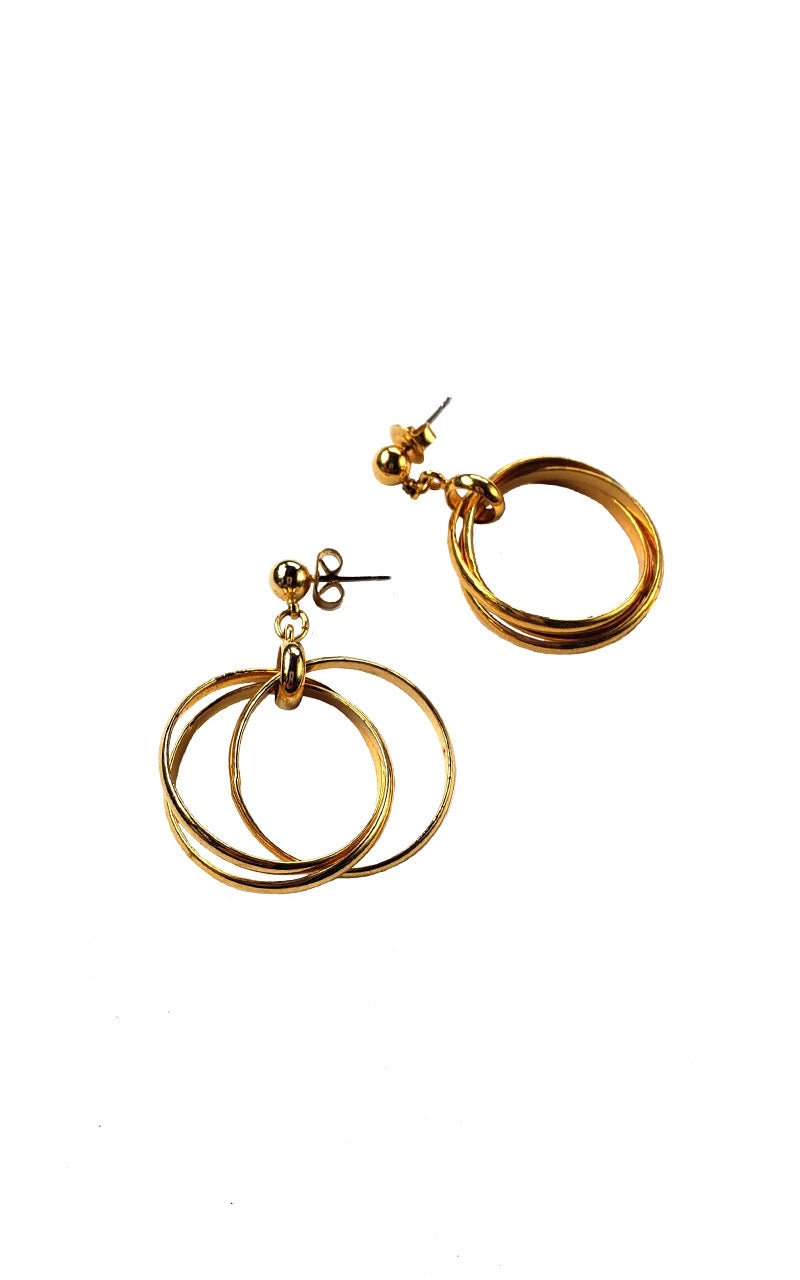 Gold Dangle Hoop Earrings