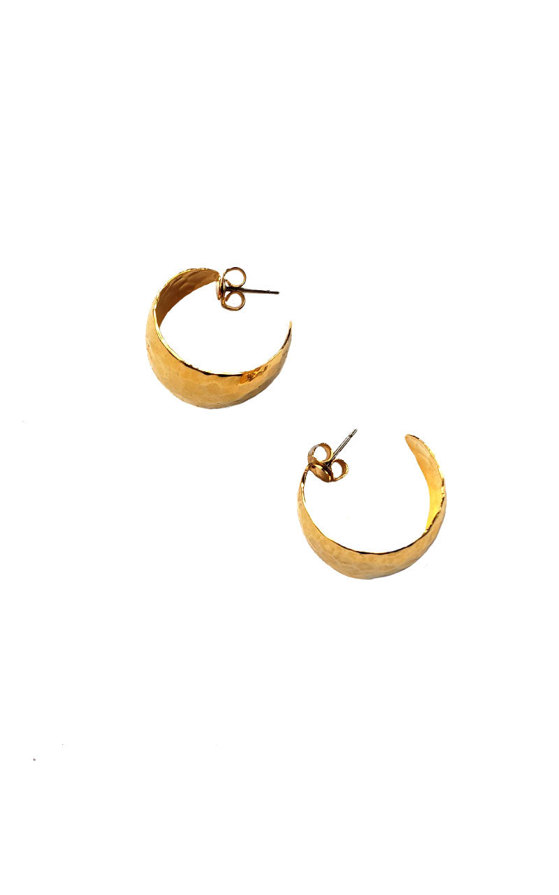 Vintage 90s Hammered Finish Gold Hoops