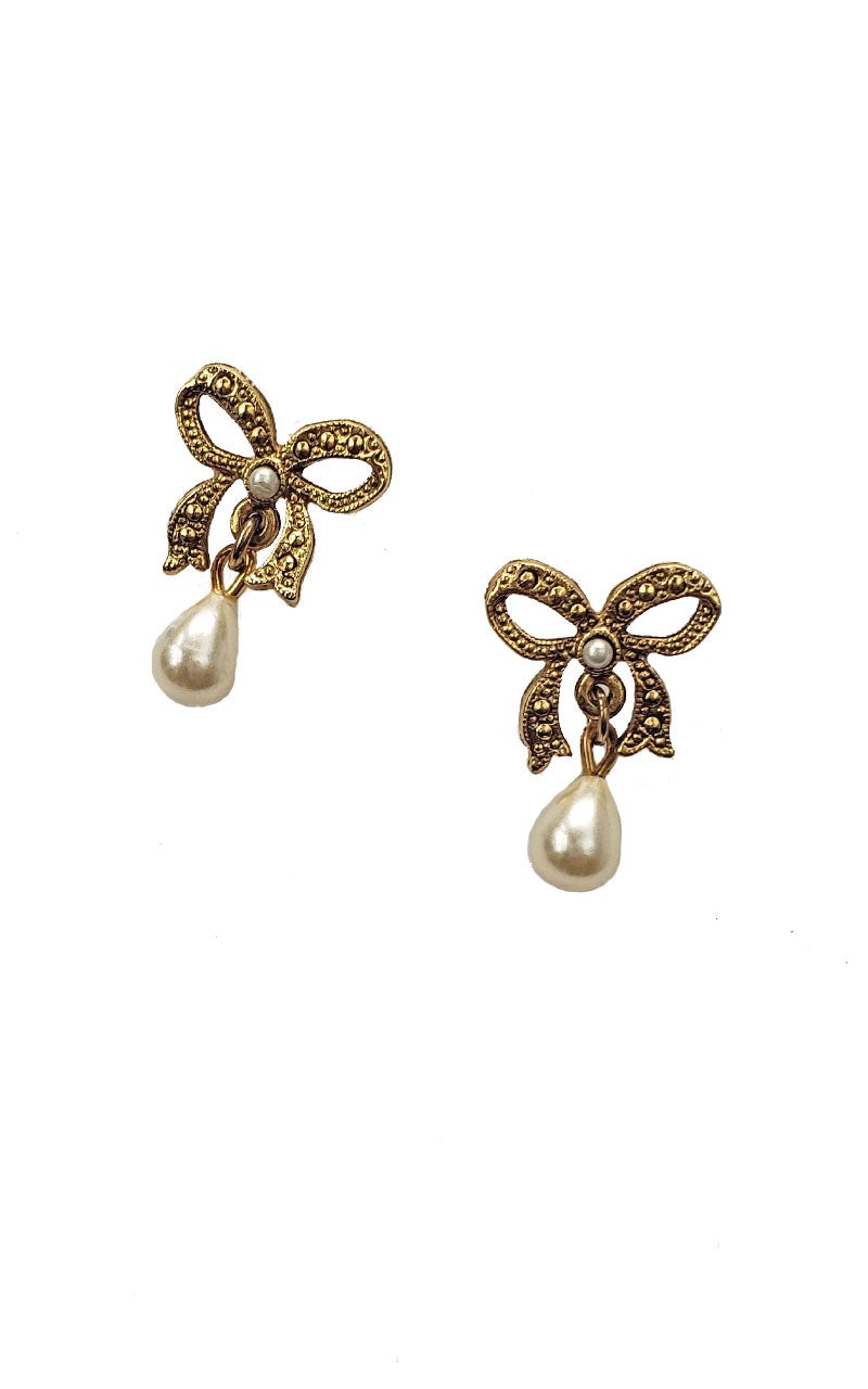 VIntage Bow & Pearl Earrings