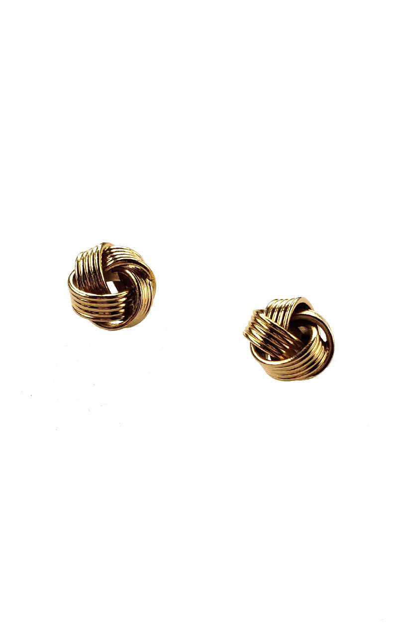 Vintage 80s Small Gold Knot Earrings