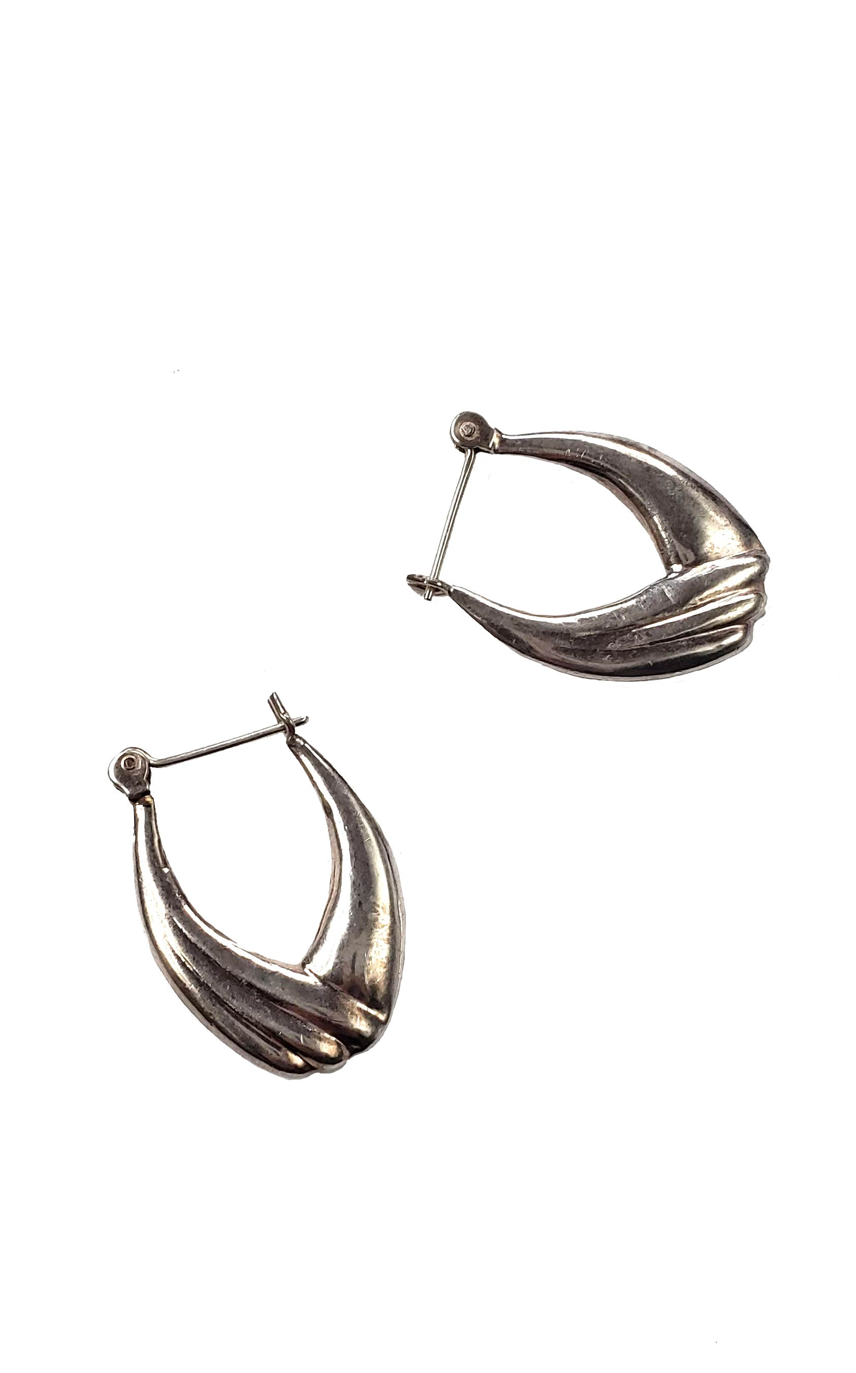 Vintage 90s Silver Oblong Hoop Earrings