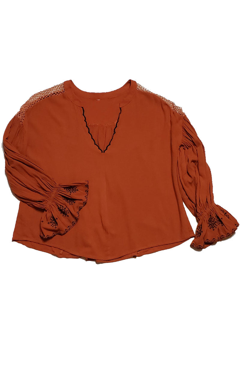 Rust V-Neck Flare Sleeve Mesh Shoulder Blouse