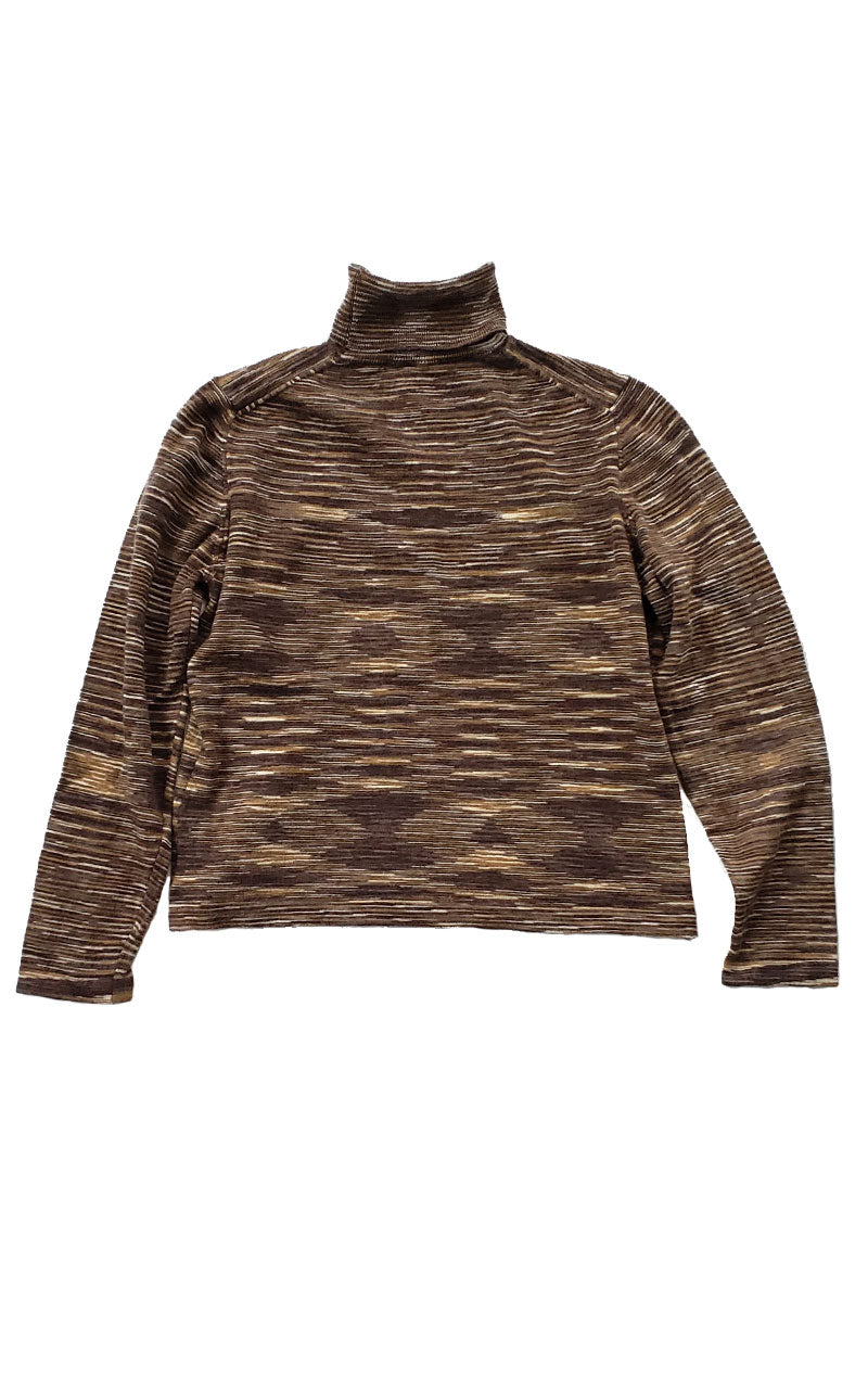 Tan Mottled Stripe Turtleneck Sweater