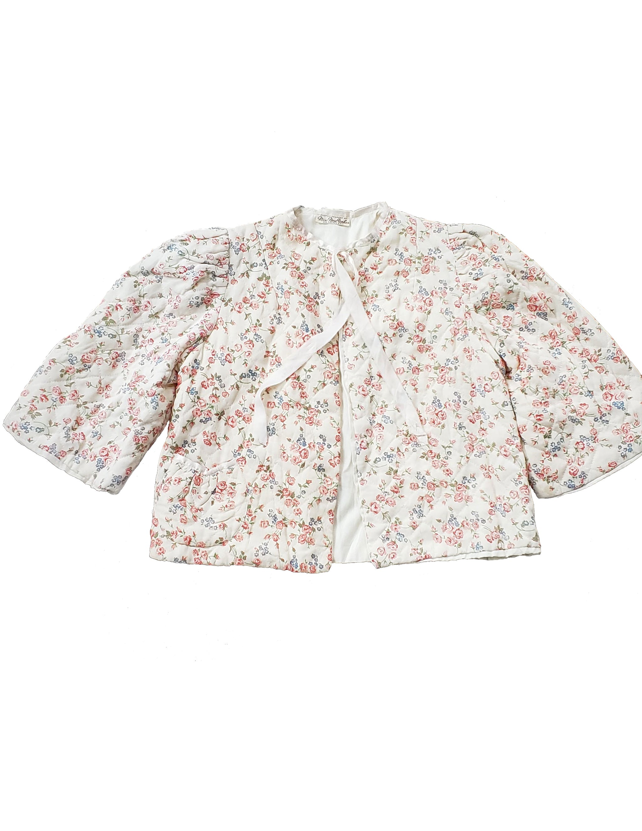 Rare Vintage 1960s Quilted Floral Bed Jacket