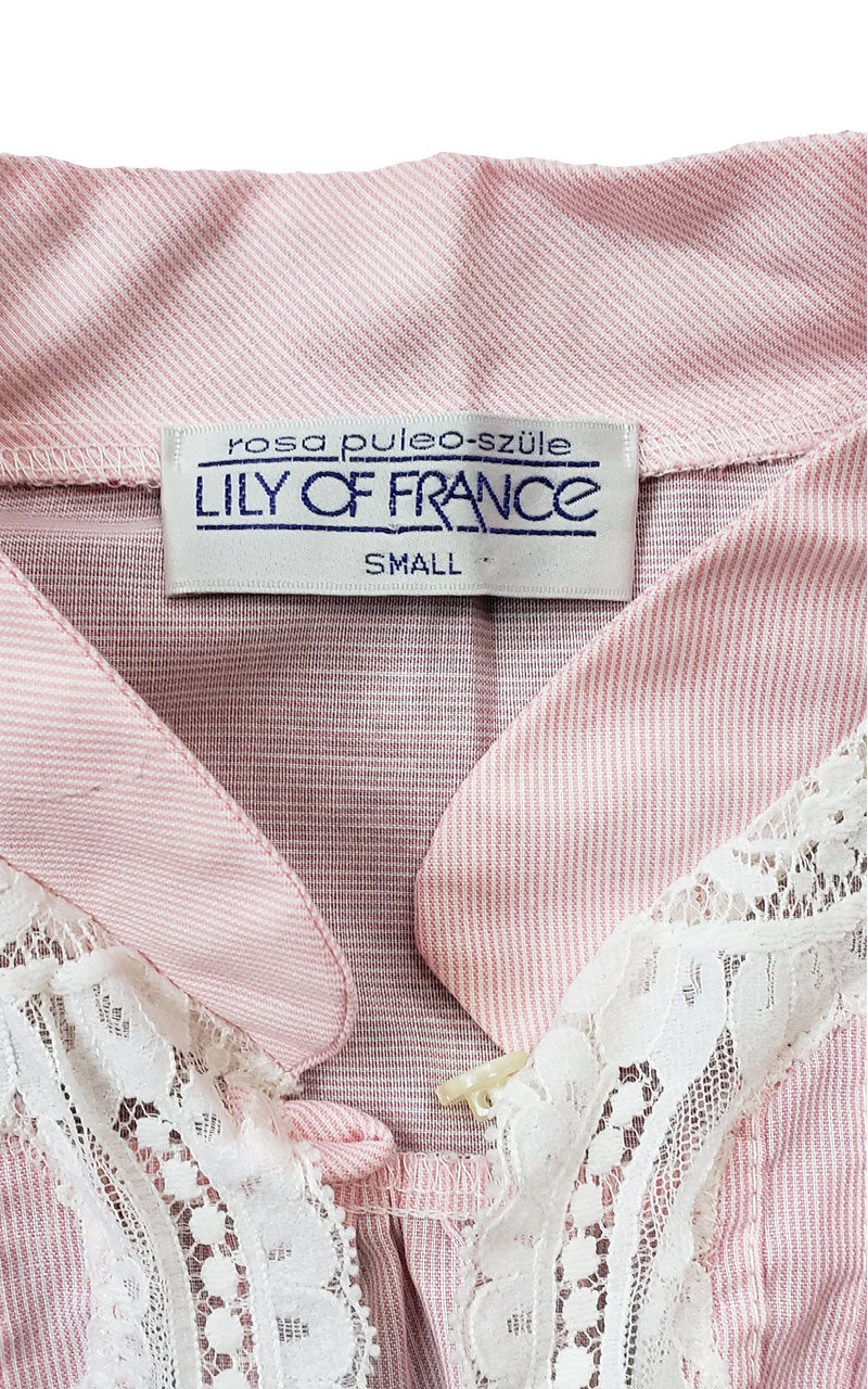 Rare 1970s Lily of France Pinstriped Bed Jacket