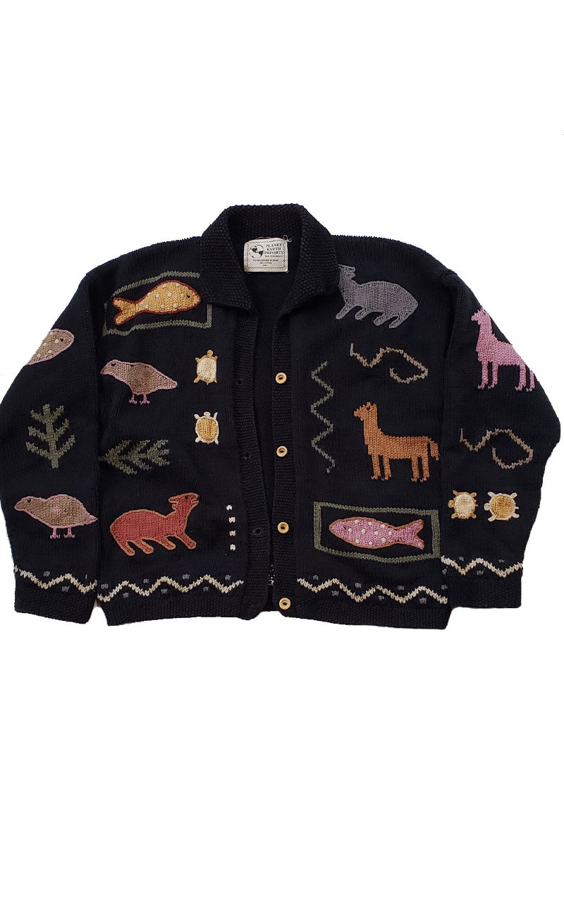 Rare Planet Earth Imports Embroidered Cardigan