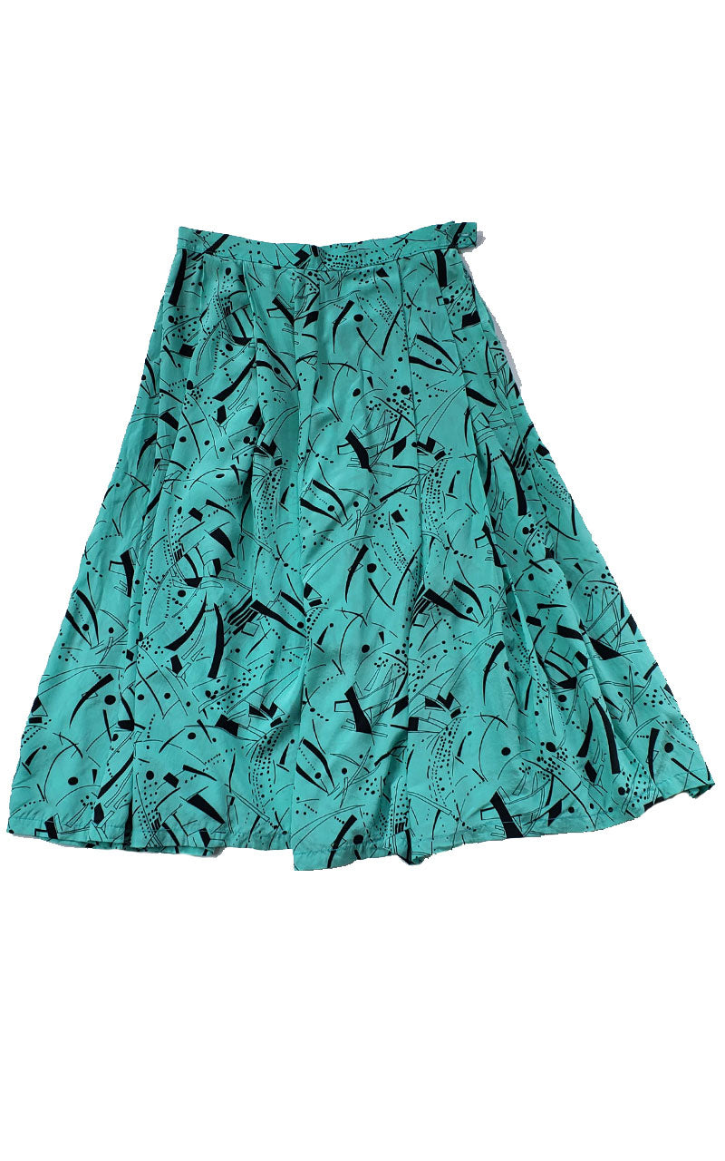 Vintage 80s Mint Green & Black Midi Gathered Skirt