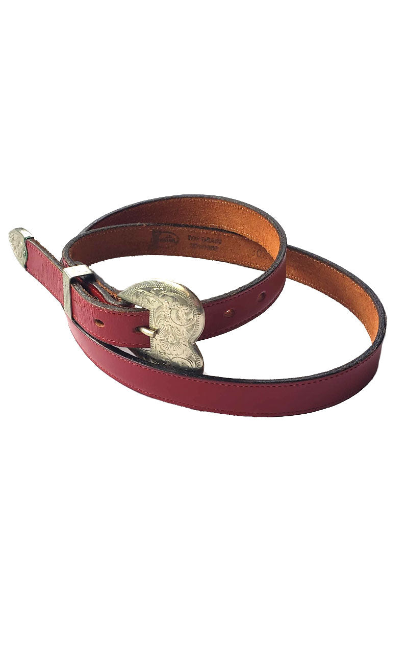 Red Leather Heart Buckle Belt
