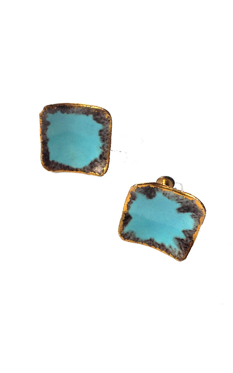 Vintage Ceramic Screw Back Earrings