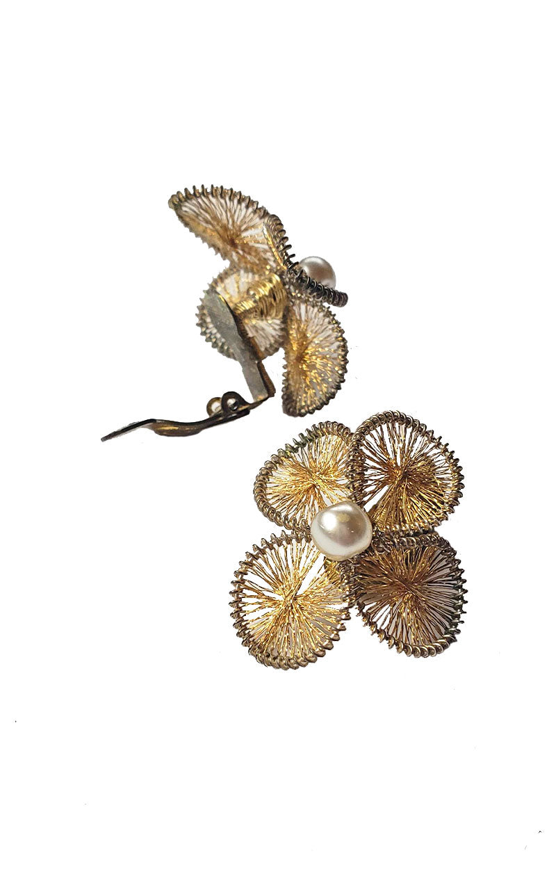 Vintage Woven & Pearl Flower Earrings