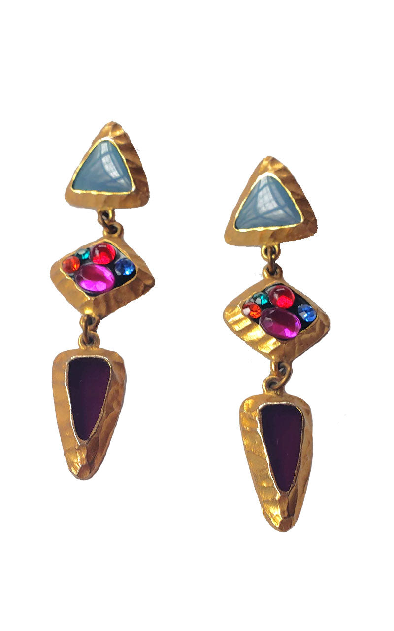 80s Gold &  Jewel Toned Statement Earrings