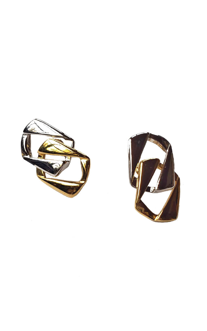 90s Silver & Gold Chain Link Earrings