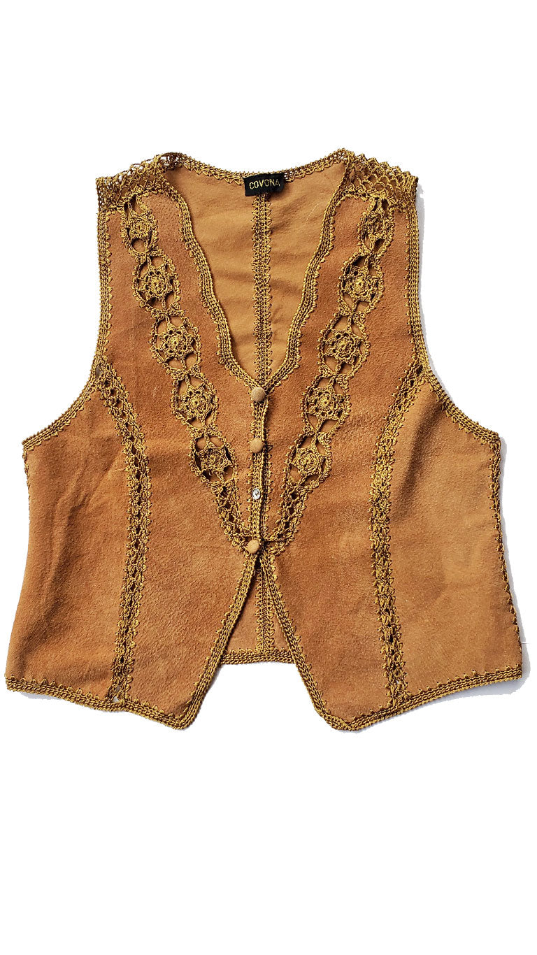 Vintage70's Suede w/ Embroidered Trim Vest