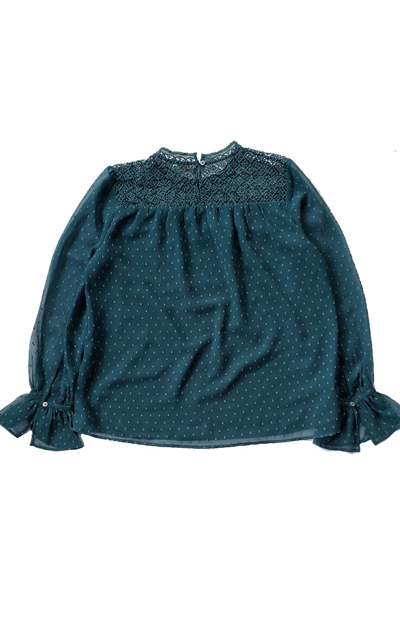 Loft Sheer Dot Ruffle Sleeve Blouse with lace Inset Shoulders - Teal