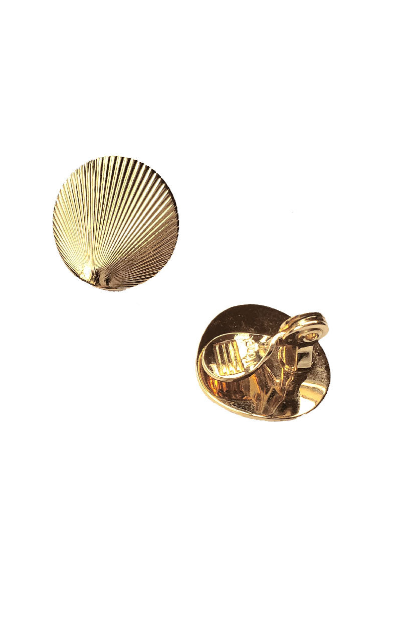 Vintage Gold Seashell Clip-On Earrings