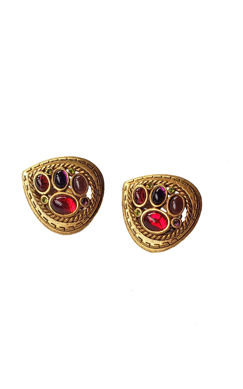80s Paisley Jewel Tone Gem Earrings