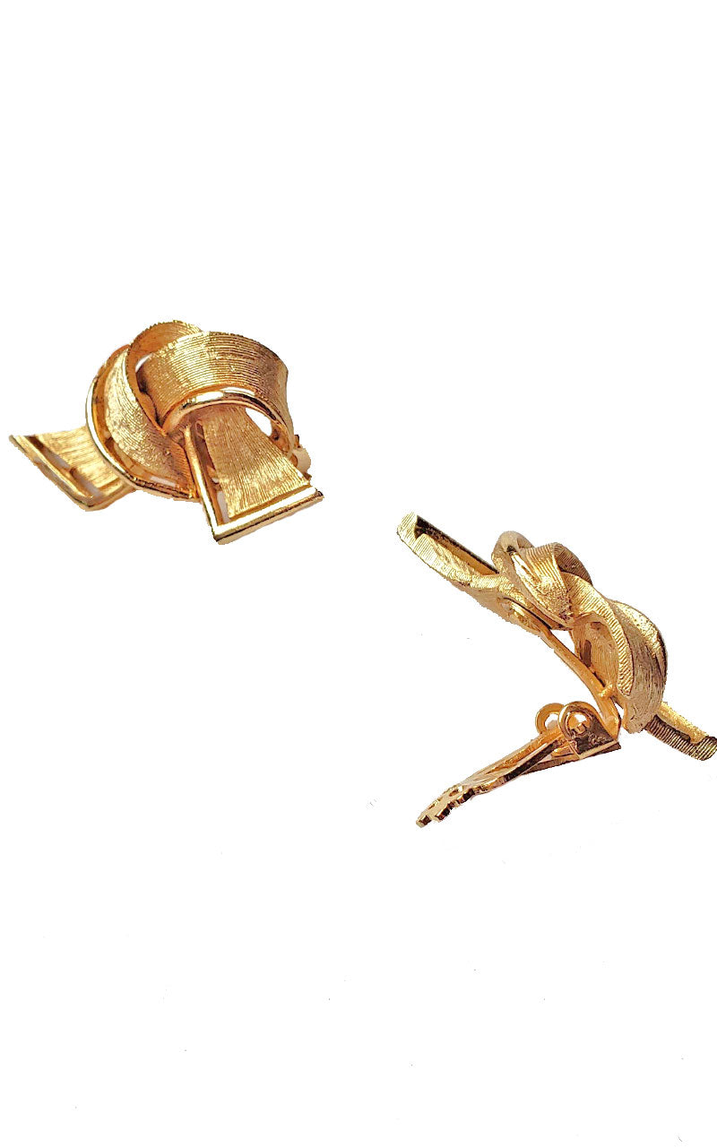 80s Gold Tied Knot Clip-on Earrings