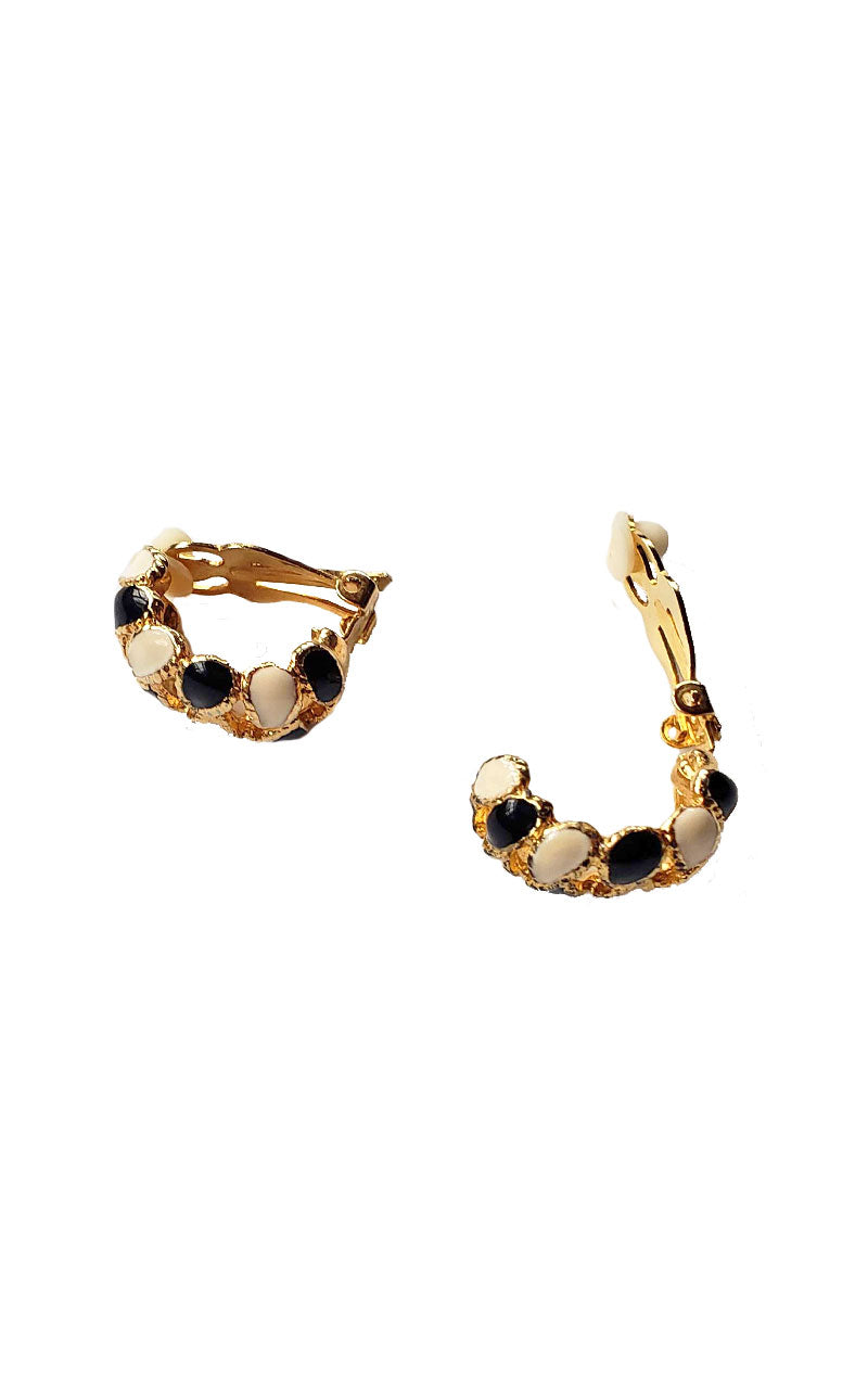 80s Open Weave Clip-On Hoop Earrings