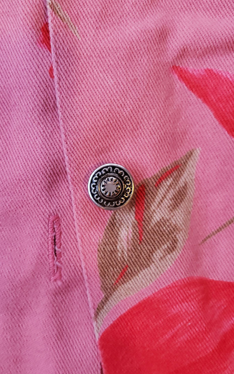 90s Tantrums Bright Pink Beaded Denim Jacket