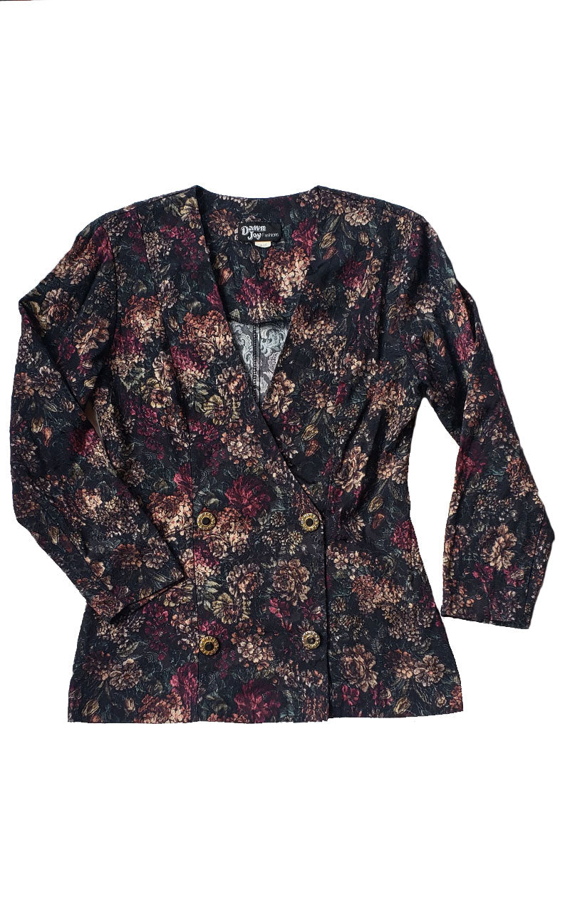 90s Double Breasted Black Floral Blazer