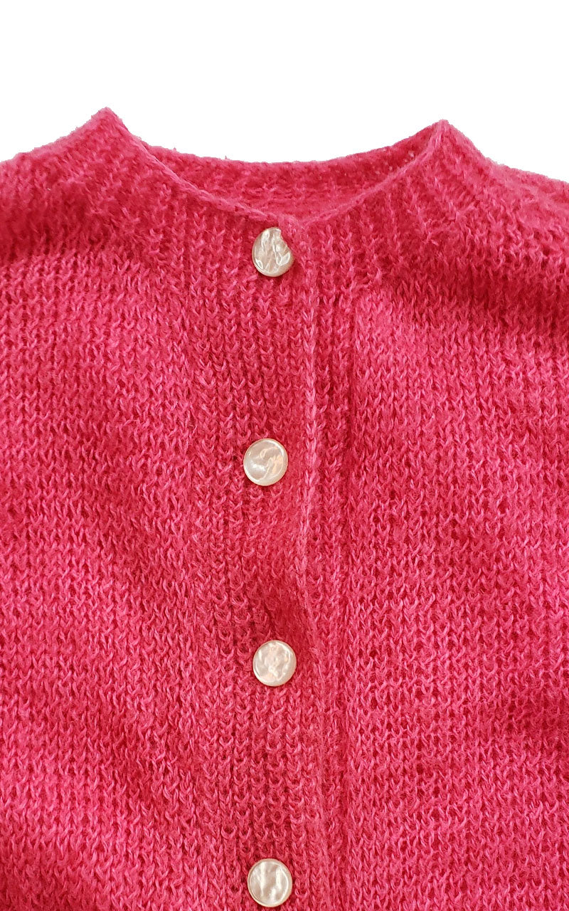 Vintage Hot Pink Hand Knitted Wool Cardigan