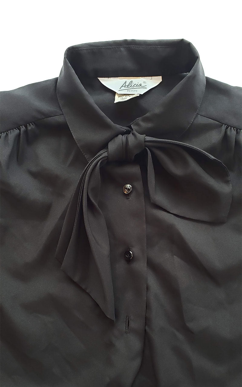 Vintage 70s Removable Neck Tie Blouse