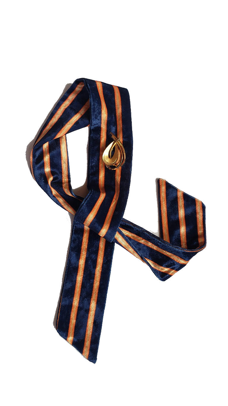 Velvet Neon Striped Skinny Neck Tie w/Vintage Brooch