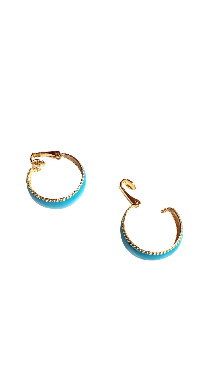 Vintage 80s Teal & Gold Hoop Earrings