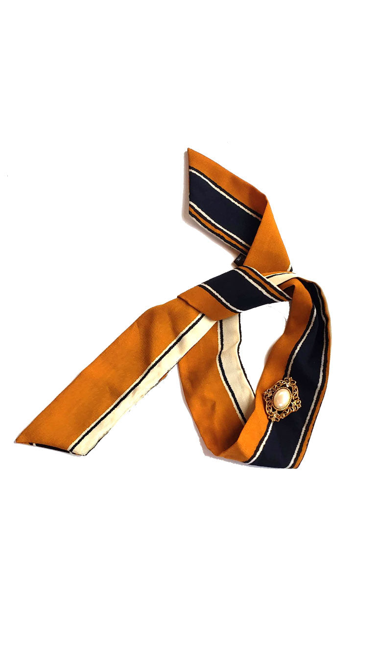 Striped Skinny Neck Tie w/Vintage Brooch