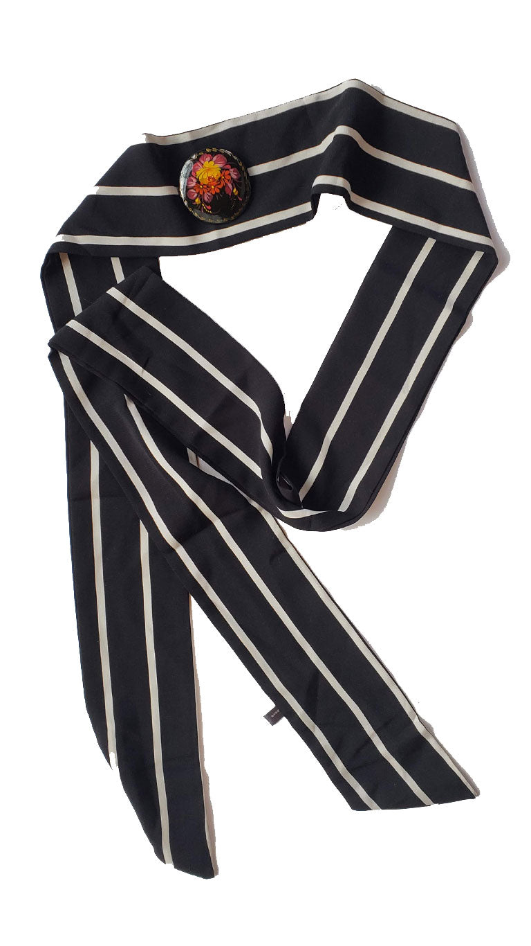 Black & White Striped Skinny Neck Tie w/Vintage Brooch