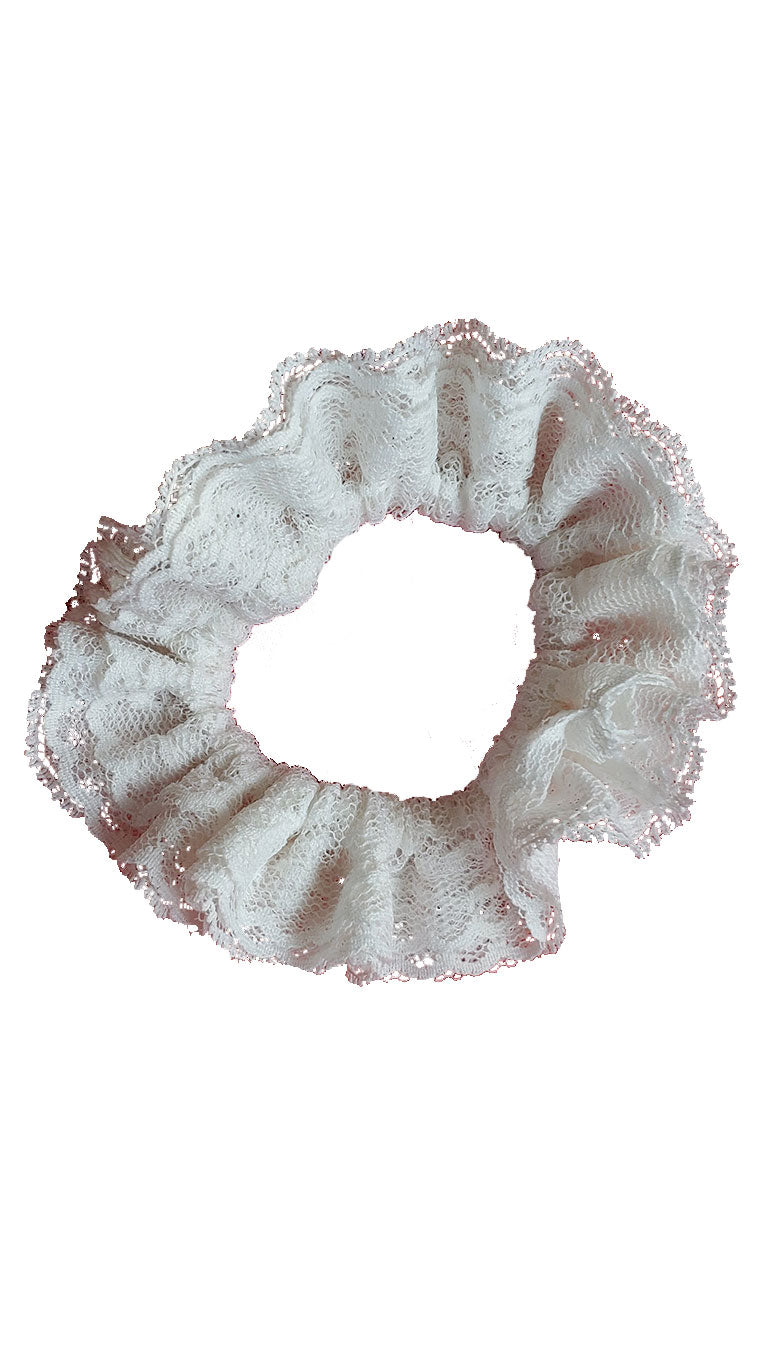 Vintage White Lace Scrap Scrunchies