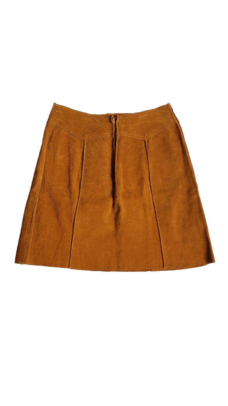 Vintage 70s Tan Suede Mini Skirt
