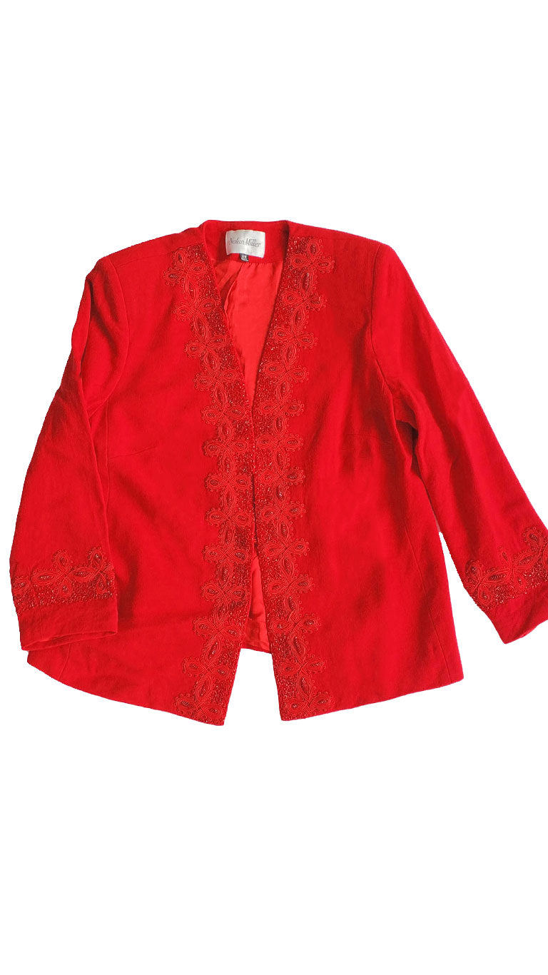 Vintage Nolan Red Beaded Blazer