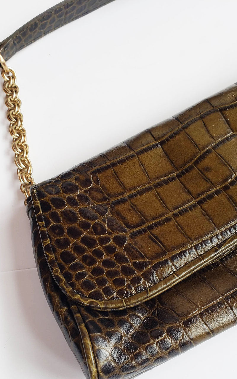 Ann Taylor Baguette Bag with Gold Chain Strap