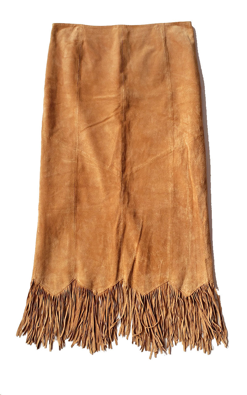 Tan Suede Long Fringe Skirt