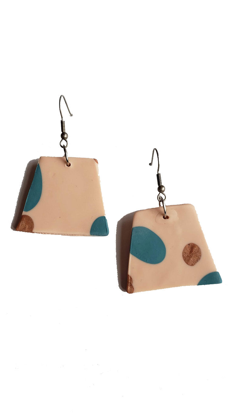 Handmade Large Polymer Clay Dangle Earrings - Beige/Teal/Copper