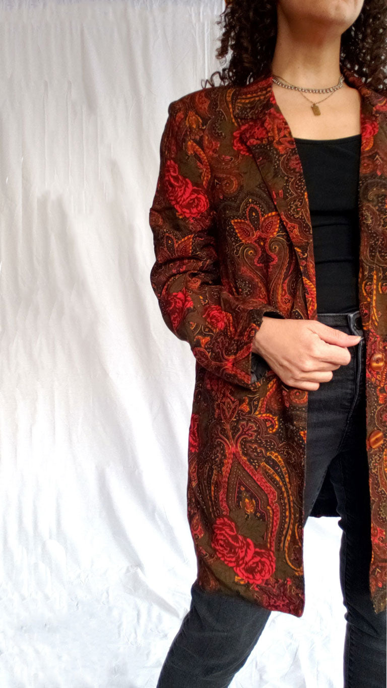 90s Vintage Red Floral Long Blazer