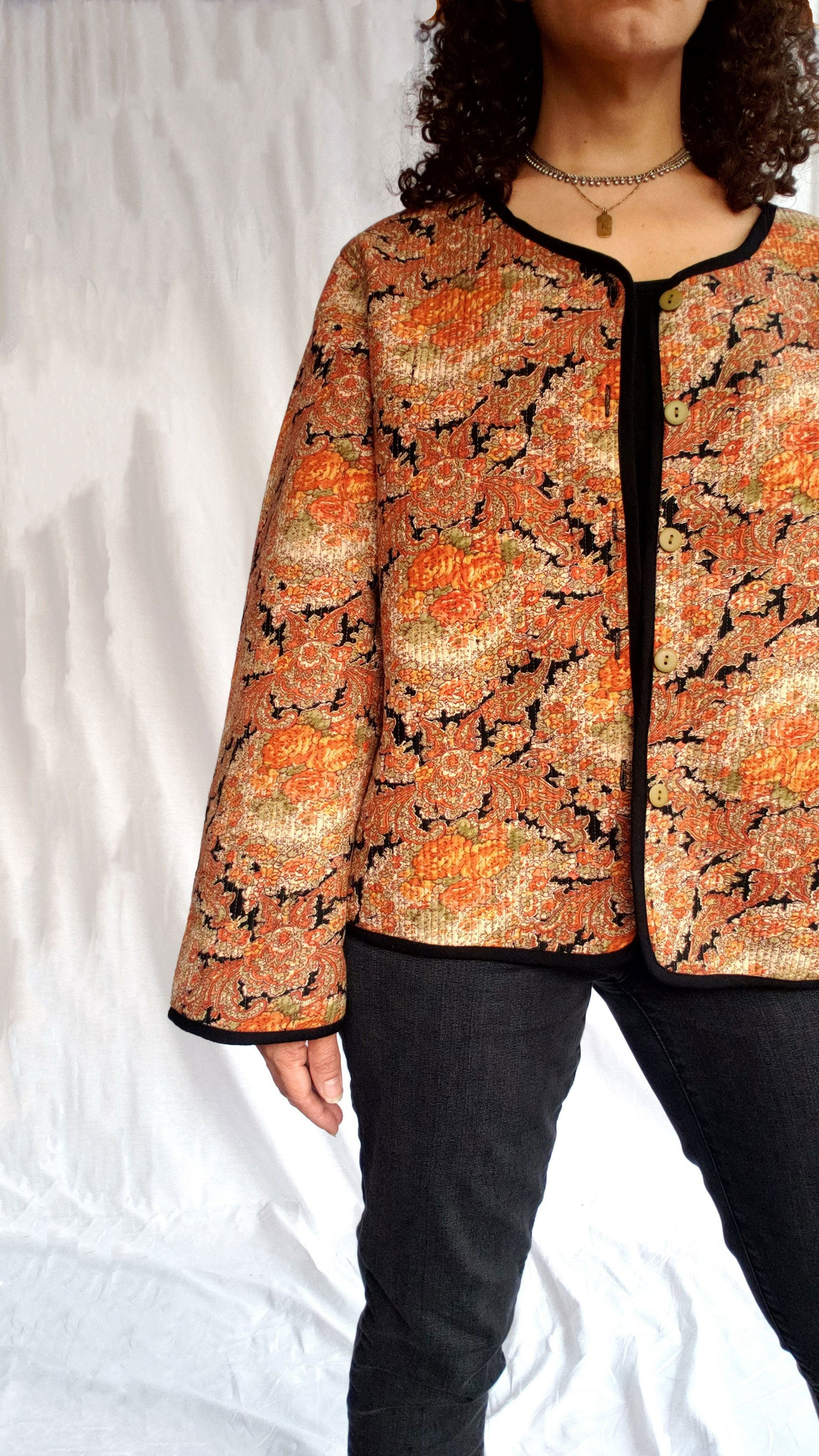 April Cornell Vintage Quilted Paisley Print Jacket