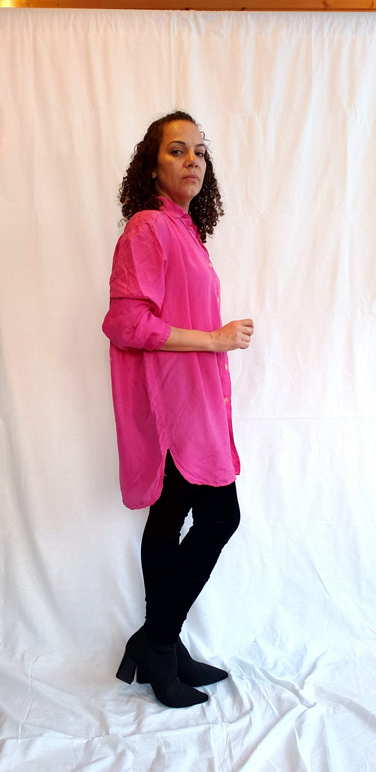 90s Passport Hot Pink Silk Buttondown Tunic