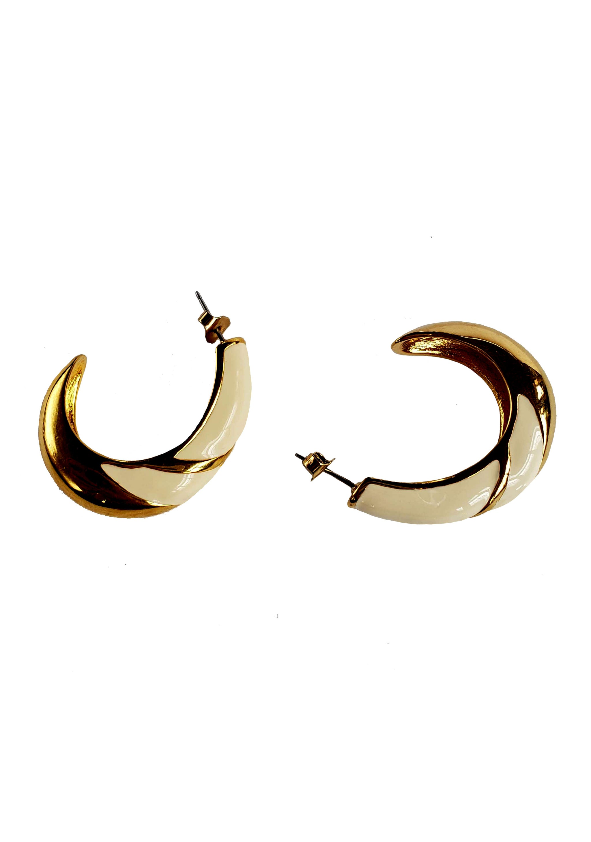 80s Cream & Gold Enamel Scoop Earrings